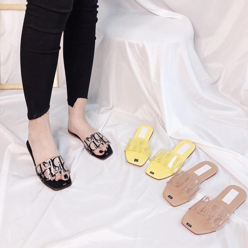 Dép nữ quai ngang In chữ D hàng Việt Nam chất lượng cao chất si mịn đẹp dễ phối trang phục giá rẻ