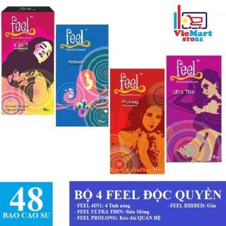 Bộ 4 FEEL ĐỘC QUYỀN ( Bao cao su Feel 4 in 1 12s + Bao cao su Feel Prolong 12s + Bao cao su Feel Ultra Thin 12s + Bao cao su Feel Ribbed 12s ) - Hãng phân phối chính thức thumbnail