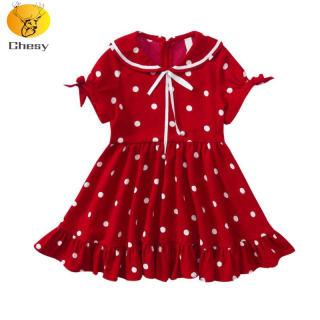 Váy Cho Bé Gái Váy Bé Gái Giáng Sinh Váy Voan Ngắn Tay Chấm Bi Dành Cho Trẻ Từ 3-10 Tuổi