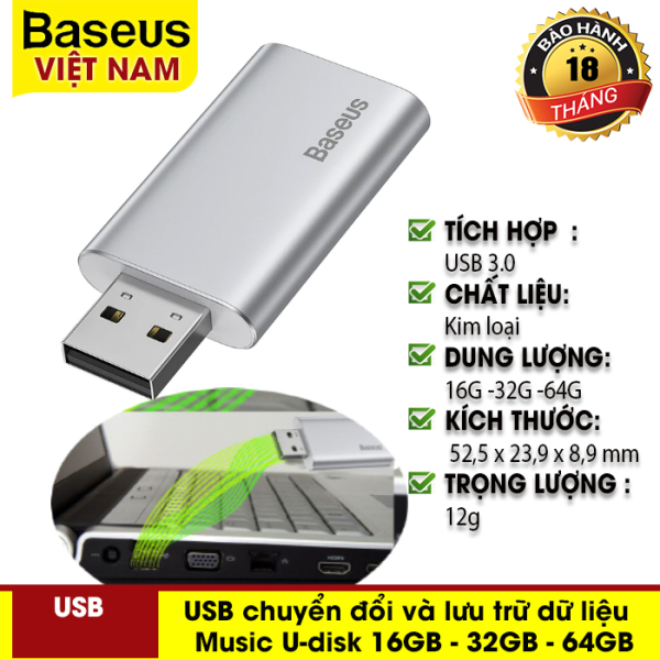 USB chuyển đổi và lưu trữ dữ liệu Baseus Enjoy Music U-disk 16GB - 32GB - 64GB hỗ trợ vừa sạc vừa nghe nhạc, thư giãn trong khi lái xe