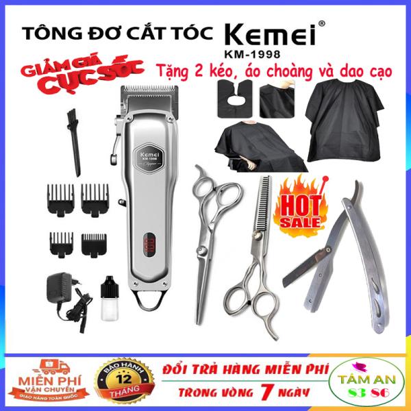 (Xả hàng dọn kho) Tông đơ cắt tóc cao cấp Kemei 1998, tăng đơ hớt tóc lưỡi kép, thân nhôm nguyên khối không dây, sạc pin chuyên nghiệp đẳng cấp hơn tông đơ codos, xiaomi,wahl,philips + Tặng kèm 2 kéo cắt tỉa tóc,áo choàng,dao cạo