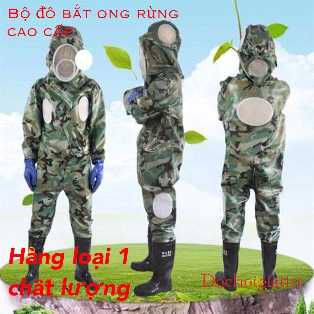 Bộ quần áo bắt ong rừng liền ủng và găng tay cao cấp