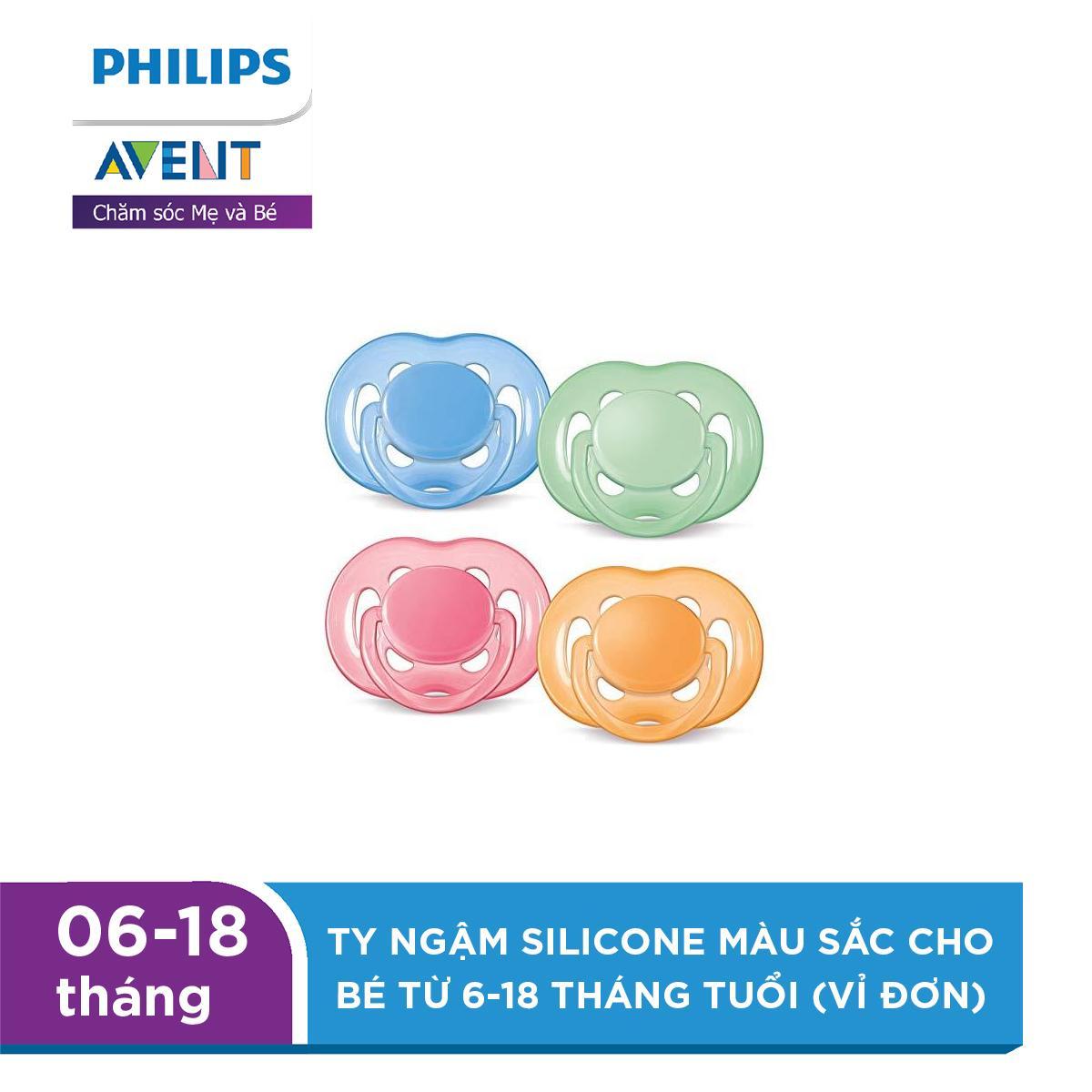 Ty ngậm Silicone Philips Avent màu sắc cho bé từ 6-18 tháng tuổi (vỉ đơn) SCF178/14