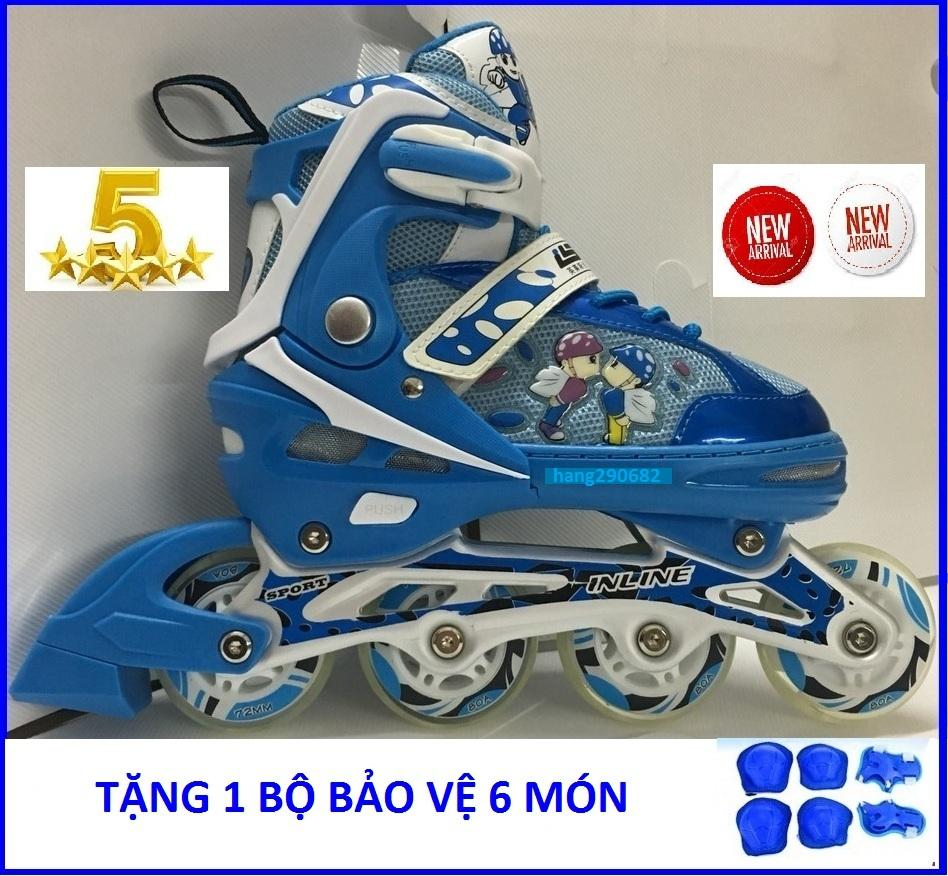 Giá bán Giầy trượt patin trẻ em có đèn flash tặng bảo vệ tay chân