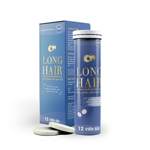 Viên sủi Long Hair - Hỗ trợ giúp bổ huyết, giúp đen tóc, hỗ trợ mọc tóc, ngăn ngừa rụng tóc (Ống 12 viên) giá rẻ