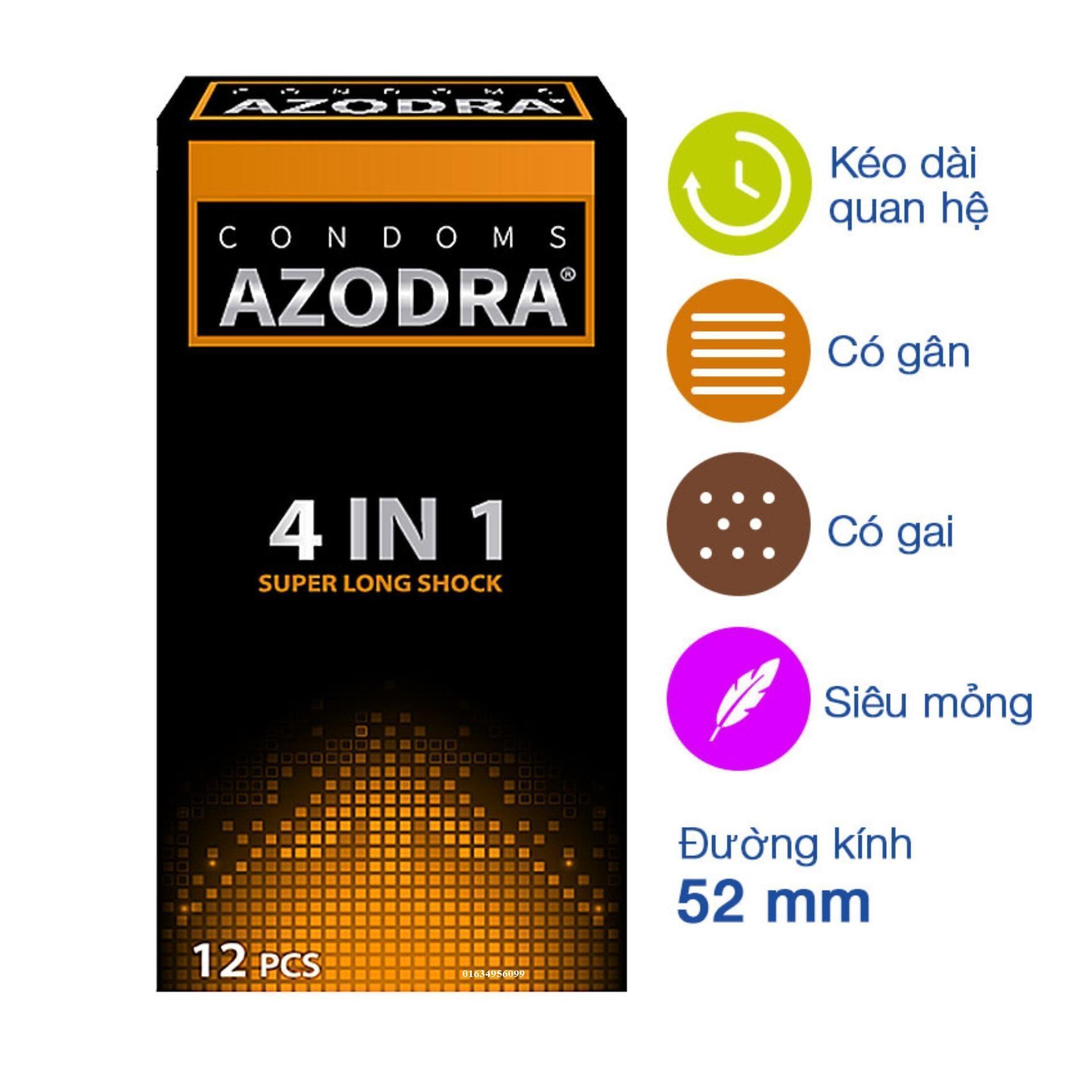Bao cao su gân gai AZODRA kéo dài thời gian hộp 12c