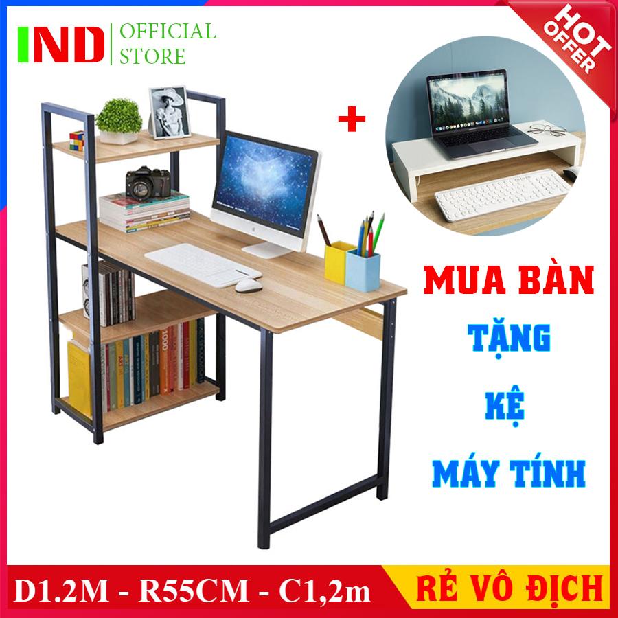 [ Rộng 1,2M ] Bàn làm việc khung sắt kèm giá sách sơn tĩnh điện chịu lực cao, bàn vi tính hoặc bàn học, làm việc lắp ráp dễ dàng