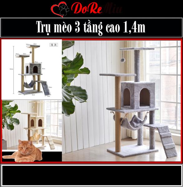 Doremiu- Trụ mèo leo trèo 4 tầng Nhà cây cho mèo lớn cao 1,6m cat tree dụng cụ cào móng