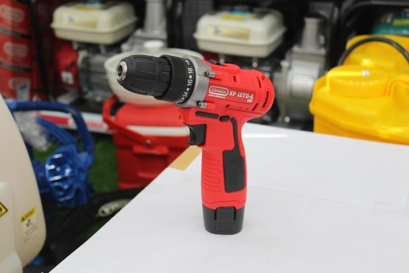 Máy khoan cầm tay dùng pin Oshima KP12TD-K, Motor dây đồng đầu xịt quay đồng tâm+Bộ phụ kiện mũi khoan đầu túp(10 món)
