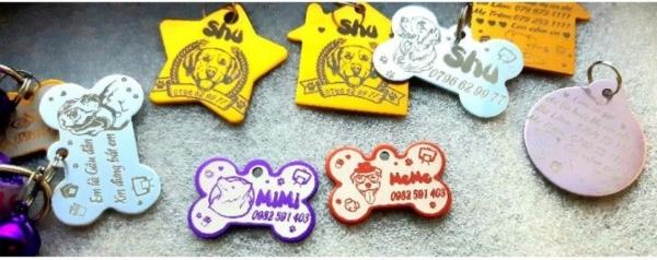 Thẻ tên, pet tag dành cho thú cưng (chó, mèo, thỏ, sóc...) được khắc 2 mặt theo nội dung bạn mong muốn