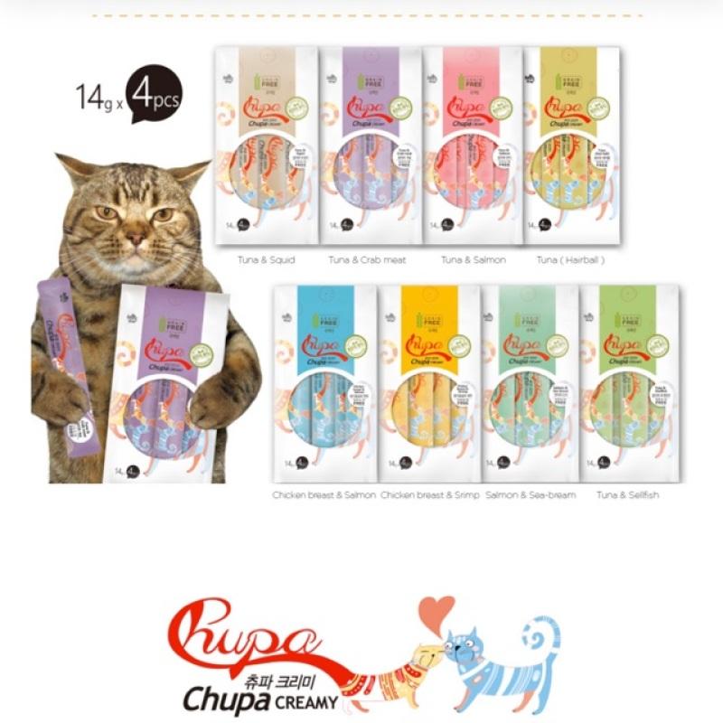 Gói 4 thanh sốt Chupa cream grain free mix nhiều vị nhập khẩu Hàn quốc cho mèo(Ức gà& cá hồi)