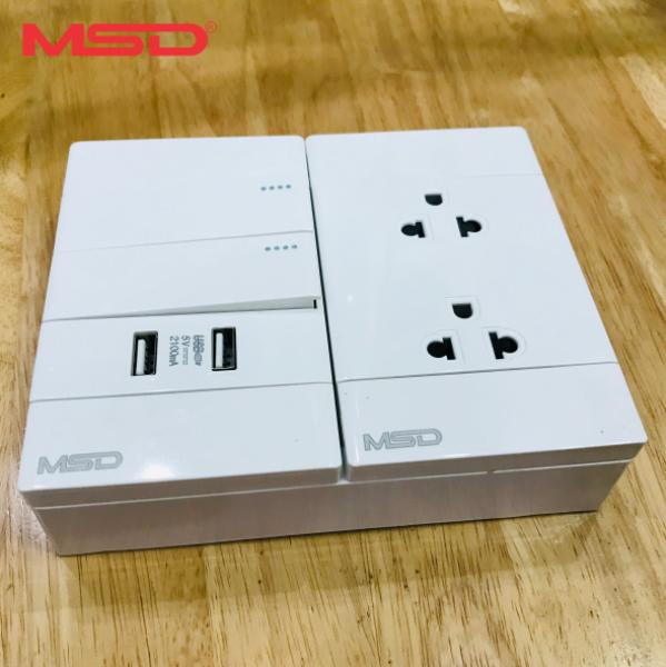 TAPLO ĐIỆN - 2 CÔNG TẮC + Ổ CẮM ĐÔI 3 CHẤU - 2 USB SẠC ĐIỆN THOẠI  2.1A/5VDC