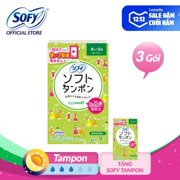Combo 4 gói Băng vệ sinh siêu thấm Sofy Soft Tampon Super 9 miếng (Hàng nhập khẩu) giá rẻ