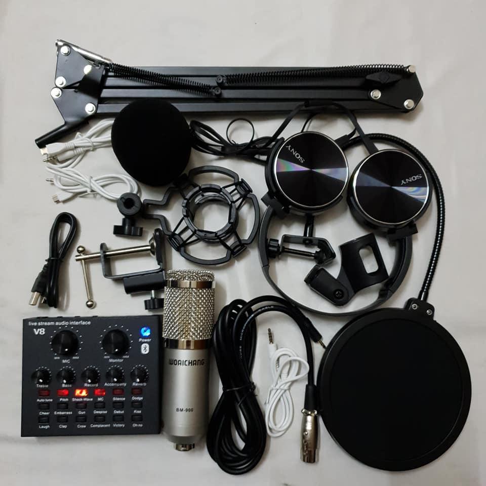 Bộ combo mic livestream hát karaoke card V8 có autotune micro BM900 WOAICHANG TẶNG tai 450 chân màng BH 6 tháng đổi mới