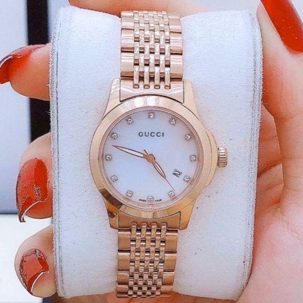 Nơi bán [MUA 1 TẶNG 1] Đồng hồ nữ mặt tròn, đồng hồ nữ dây kim loại GUCI G-TIMELESS GC13 size 28mm, đồng hồ nữ chống nước,đồng hồ nữ cao cấp