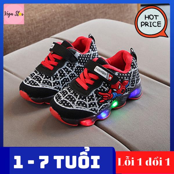 Giày thể thao nam cho bé trai từ 1 đến 7 tuổi có đèn led / Giày spider man - người nhện / giày nam, giày sneaker nam êm chân cho bé trai
