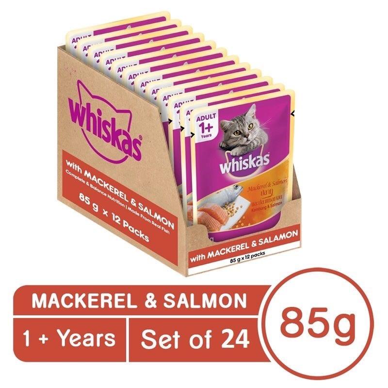 24 gói pate Whiskas 85g - Cá Thu + Cá Hồi