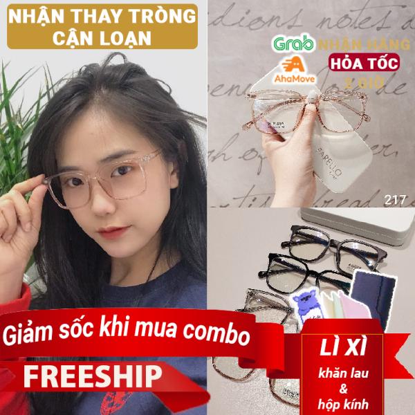 Mua Kính cận nam nữ Lily Eyewear 217 nhựa dẻo, mắt kính gọng vuông phù hợp với nhiều khuôn mặt, kính Hàn Quốc có độ kính gọng nhựa mắt trong suốt kính thời trang giả cận nhiều màu một size, kính kèm tròng 0 độ nhận cắt kính cận
