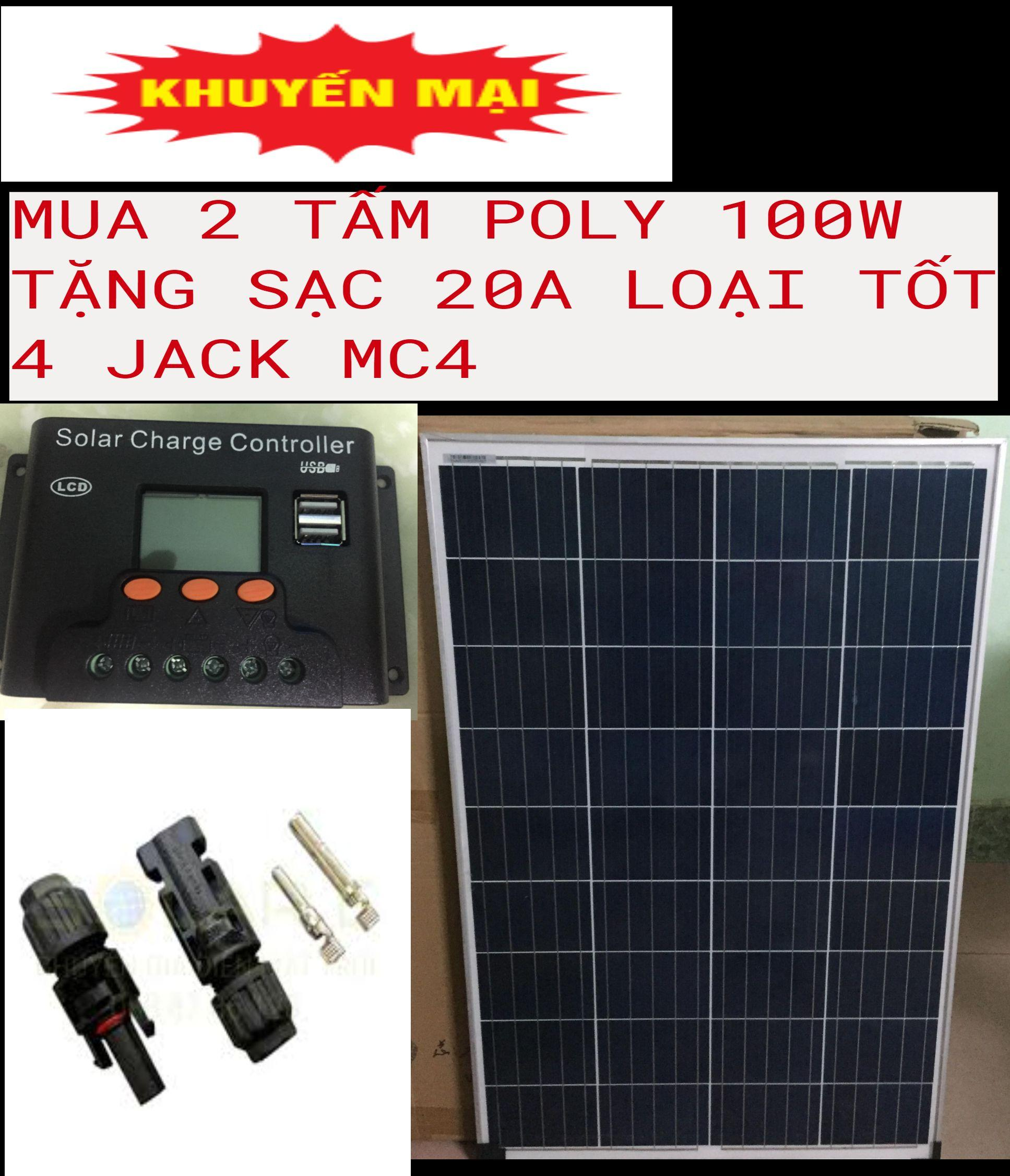 2 tấm pin năng lượng mặt trời POLY  100w tặng  sạc bình ắc quy +  4 đầu gim điện: đực, cái