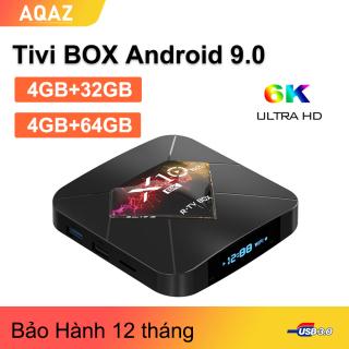 AQAZ TV Box X10 Plus Android 9.0 4GB RAM 32GB 64GB Smart TV BOX Allwinner H6 hỗ trợ 2.4G WiFi 6K H.265 media player thumbnail
