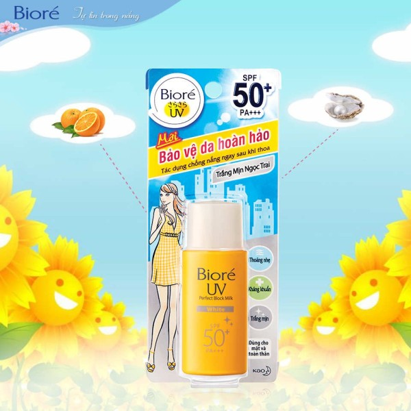 kem chống nắng Biore UV Perfect Protect Milk White SPF 50 PA+++ 25ml
