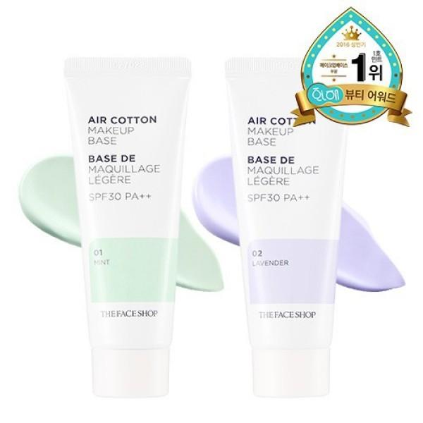 Kem lót The Face Shop Air Cotton Makeup Base TFS SPF30 PA++ 40ml kiềm dầu và hiệu chỉnh tông daThe GardenDV05