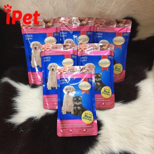 Thức Ăn Pate SmartHeart Cho Chó Con Vị Gà Nấu Xốt Gói 130g - iPet Shop