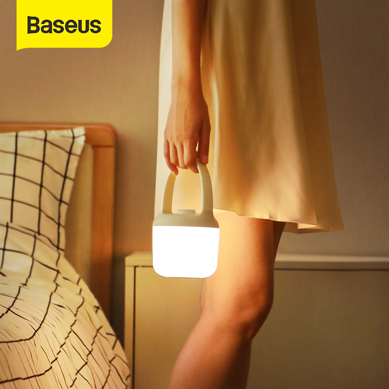 Baseus Stepless Dimming Night Light Detachable Handle Lamp Desk Night Bulbs For Bedroom Portable USB Rechargeable LED Light For Home