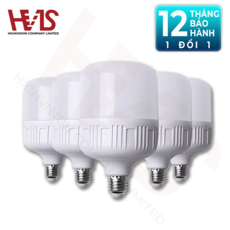Combo 5 Bóng đèn led Bulb hình trụ 40W E27 - Ánh sáng trắng - siêu sáng tiết kiệm điện năng