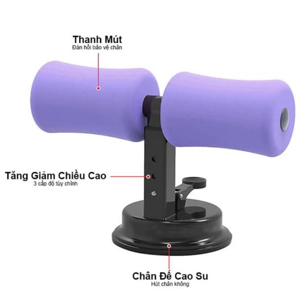Dụng cụ tập cơ bụng hỗ trợ gập bụng chữ T có đế hít chân không cao cấplàm săn chắc cơ bụng, làm giảm mở bụng, giảm cân đa năng, kích thước 29x18x12cm bst2556