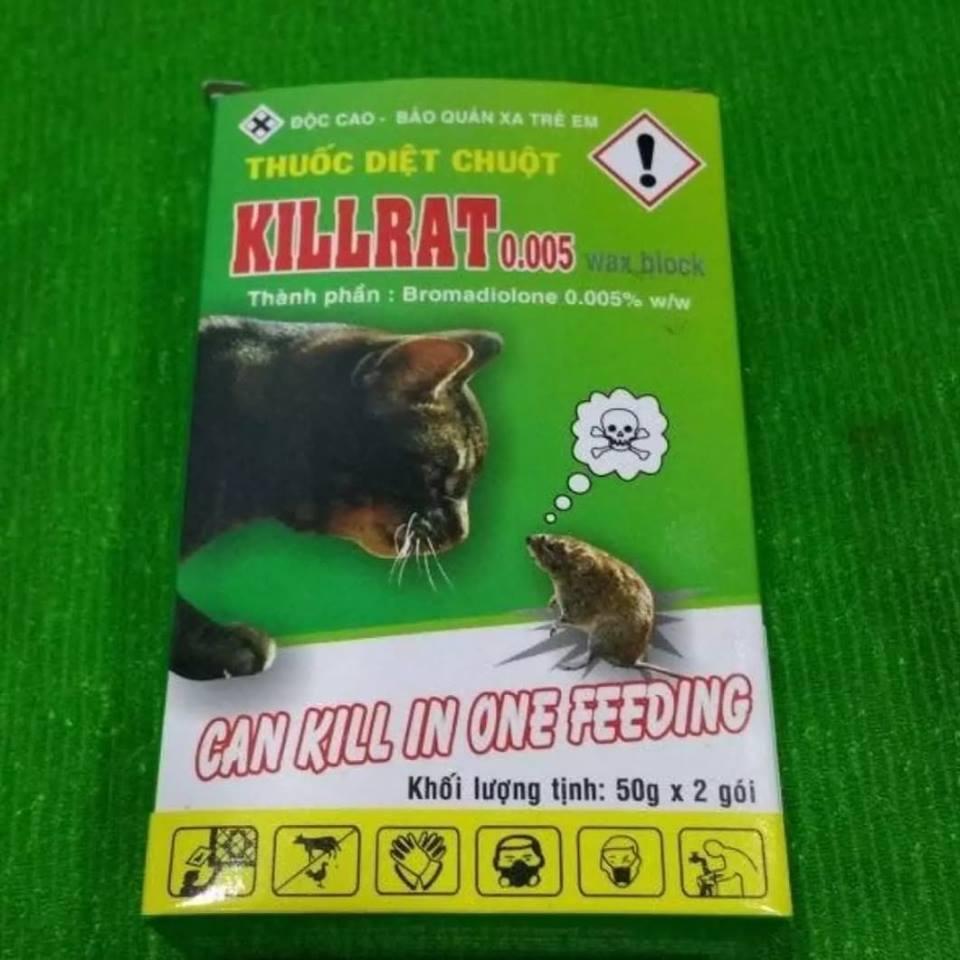 Thuốc diệt chuột Killrat - hộp 100gr 2 gói (không cần trộn thức ăn)