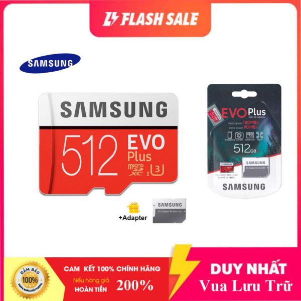 [New 2021] Thẻ nhớ MicroSDXC Samsung Evo Plus 512GB U3 4K R100MB/s W90MB/s - box Anh New 2020 (Đỏ) + Kèm Adapter