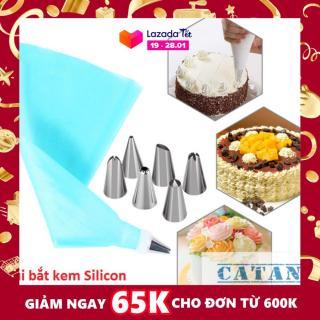 Bộ 6 đui bắt bông kem kèm chốt và túi đựng kem trang trí bánh GD230-BatKem - Chất liệu Đui inox, chốt đui nhựa.tui silicon thumbnail