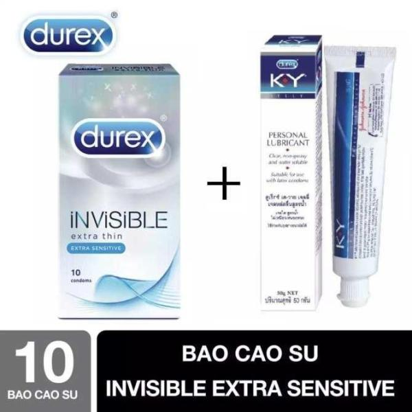 Combo 1 hộp bao cao su siêu mỏng Durex INVISIBLE tặng gel bôi trơn KY 50ml