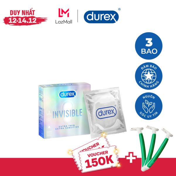 [VOUCHER 70K 12-14.12]Bao cao su Durex Invisible Extra Thin Extra Sensitive 1 Hộp 3 Bao nhập khẩu