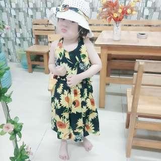 Đầm váy bé gái chất lanh lụa và voan họa tiết kiểu hai dây cho bé gái từ 8kg đến 25kg( nhiều màu ngẫu nhiên) TẶNG KÈM NÓN