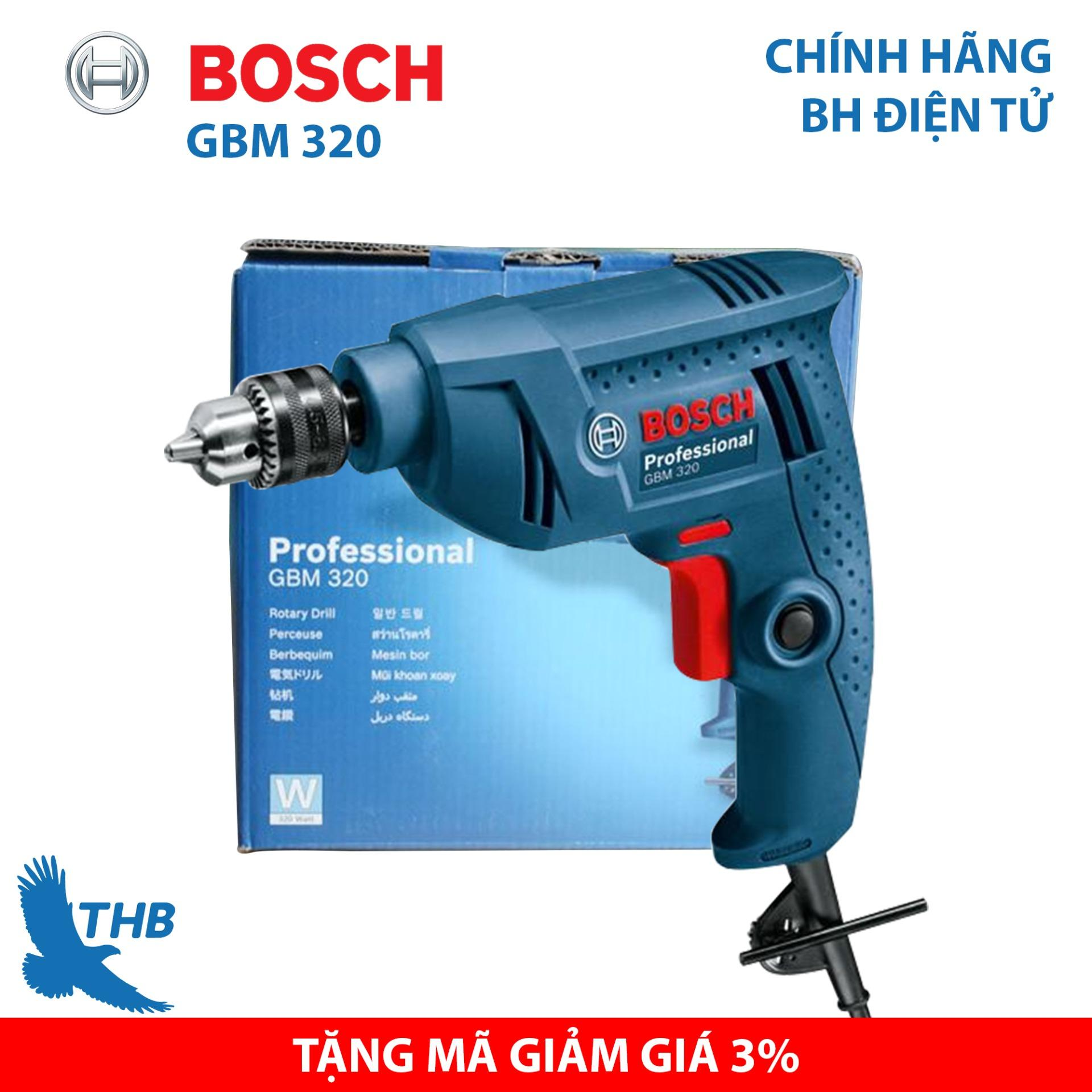Máy khoan tay, Máy khoan điện cầm tay, Máy khoan bắt vít dùng điện, Máy khoan cầm tay, Máy khoan Bosch chính hãng GBM 320 ( Công suất 320W, đầu cặp M10, bảo hành điện tử 06 tháng)