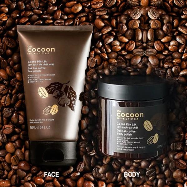Sản phẩm làm sạch da chết cocoon cà phê Đắk Lắk: da mặt 150ml + cơ thể 200ml cao cấp