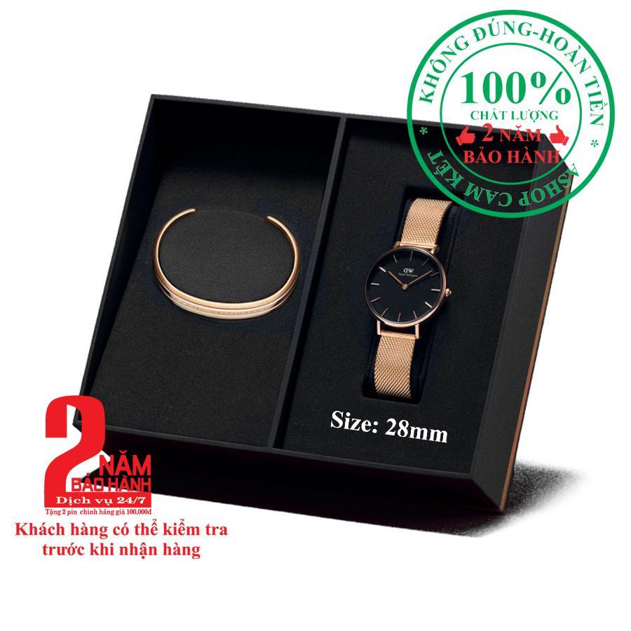 [Mẫu mới] Hộp quà đồng hồ nữ Daniel Wellington Petite Melrose 28mm + Vòng tay Daniel Wellington Bracelet- màu vàng hồng (Rose Gold), mặt đen- DW00500128 bán chạy