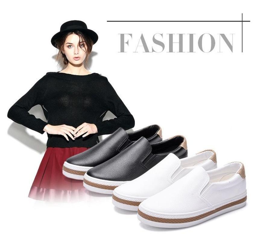 Slip on da nữ - Giày lười da nữ - Chất liệu da PU 2 màu (đen) đế trắng và (trắng) full - Mã SP 6075 (K361) giá rẻ