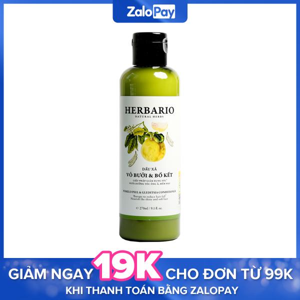 Dầu xả  chiết xuất bưởi và bồ kết siêu mượt tóc, ngăn rụng tóc Herbario 270ml