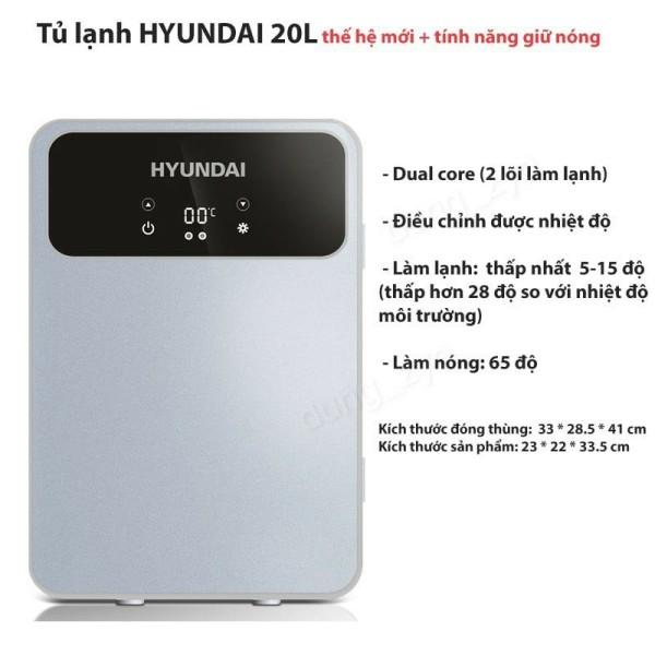 Tủ lạnh mini 20L cao cấp Huyndai sử dụng được 220V (gia đình) + 12V (ô tô)