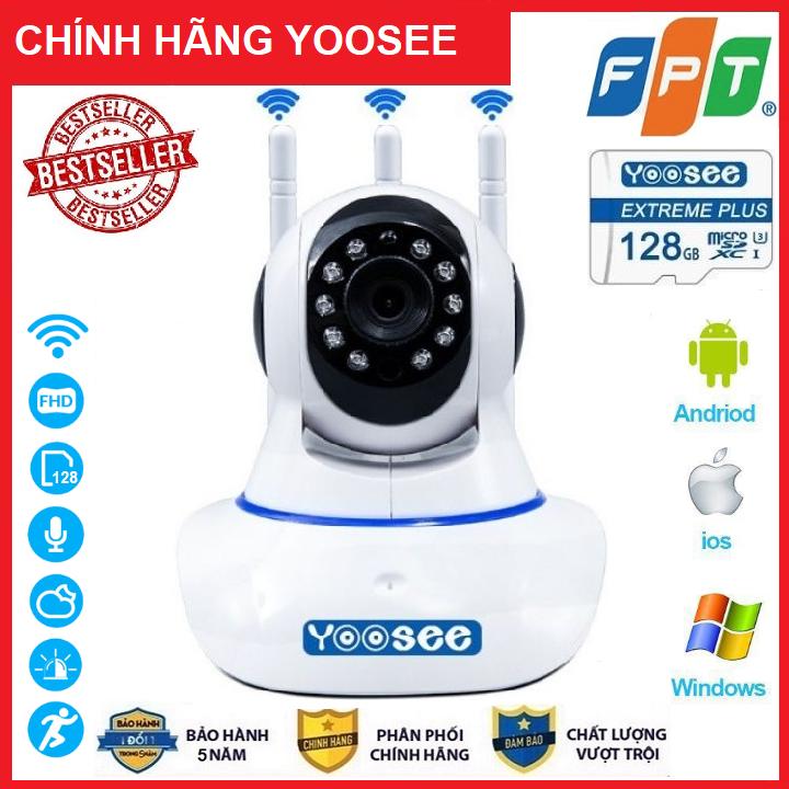 ( Combo Camera VS Thẻ 128GB Yoosee Bảo Hành 60 Tháng ) Camera IP Wifi Yoosee 3 Râu xoay 360 độ, độ phân giải FULL HD 2.5MP 1920x1080p Không Dây,Camera trong nhà,ngoài trời Camera hồng ngoại tích hợp ghi âm,lưu trữ dữ liệu