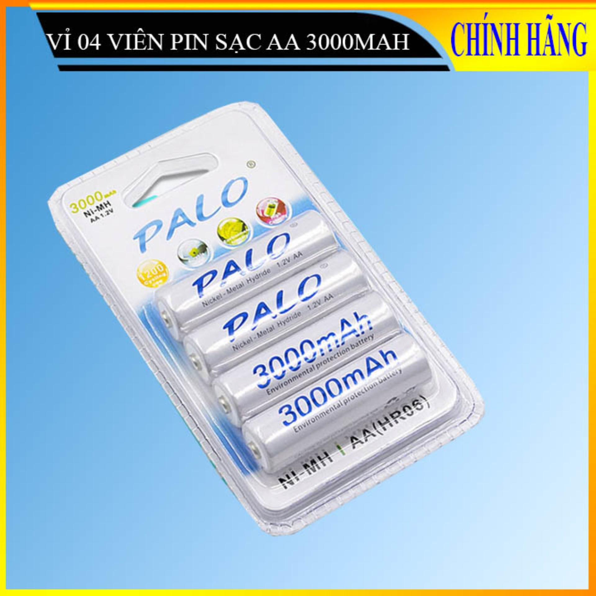 Combo 04 viên Pin tiểu PALO 3000mAh cao cấp chuyên dùng cho Micro Karaoke (trắng - 04 viên)