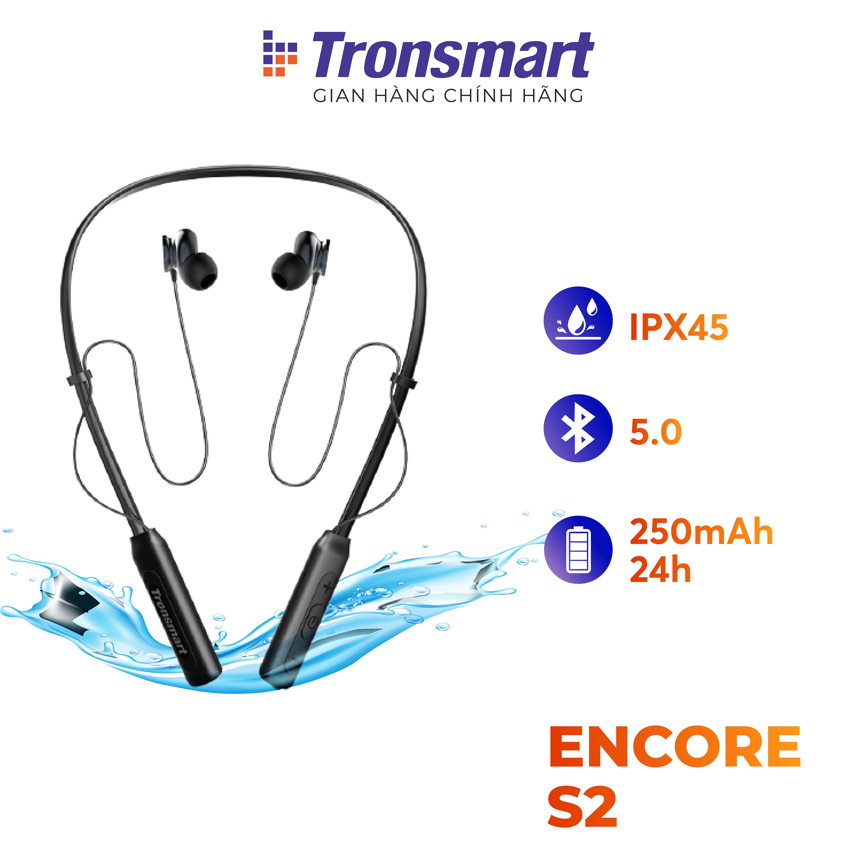 [VOUCHER 7% tối đa 500K] Tai nghe Bluetooth thể thao 5.0 Tronsmart Encore S2 Khử tiếng ồn và có míc đàm thoại Tiêu chuẩn kháng bụi chống nước IPX45 và mồ hôi Thời gian sử dụng lên tới 24h thích hợp tập thể dục thể thao - Bảo hành 12 thá