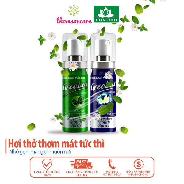Nước Xịt thơm miệng Greelux Extra Cool Thảo Dược chai 12ml - nước sịch khử mùi hôi miệng gree lux bạc hà bình mini thơm lâu, giá rẻ Greenlux chay nước hoa xịt cho nam, nữ, người lớn