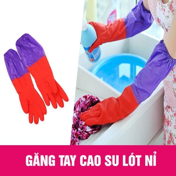Giá bán Găng Tay Cao Su Lót Nỉ Cho Mùa Lạnh