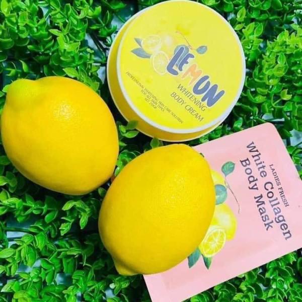 Combo ủ chanh body mask và Kem dưỡng trắng da Body Chanh Lemon whitening body cream trắng hồng tự nhiên. giá rẻ