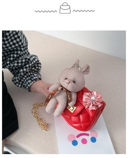 Túi đeo chéo gắn thỏ bông và nơ hồng mẫu mới, thời trang cho bé gái từ 4 tới 10 tuổi DrTOY 6
