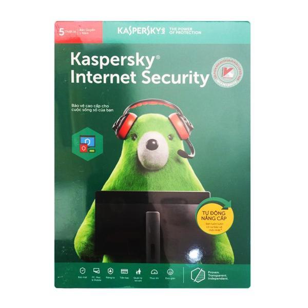 Bảng giá Phần mềm diệt virus Kaspersky Internet Security 5PC (Xanh) Phong Vũ
